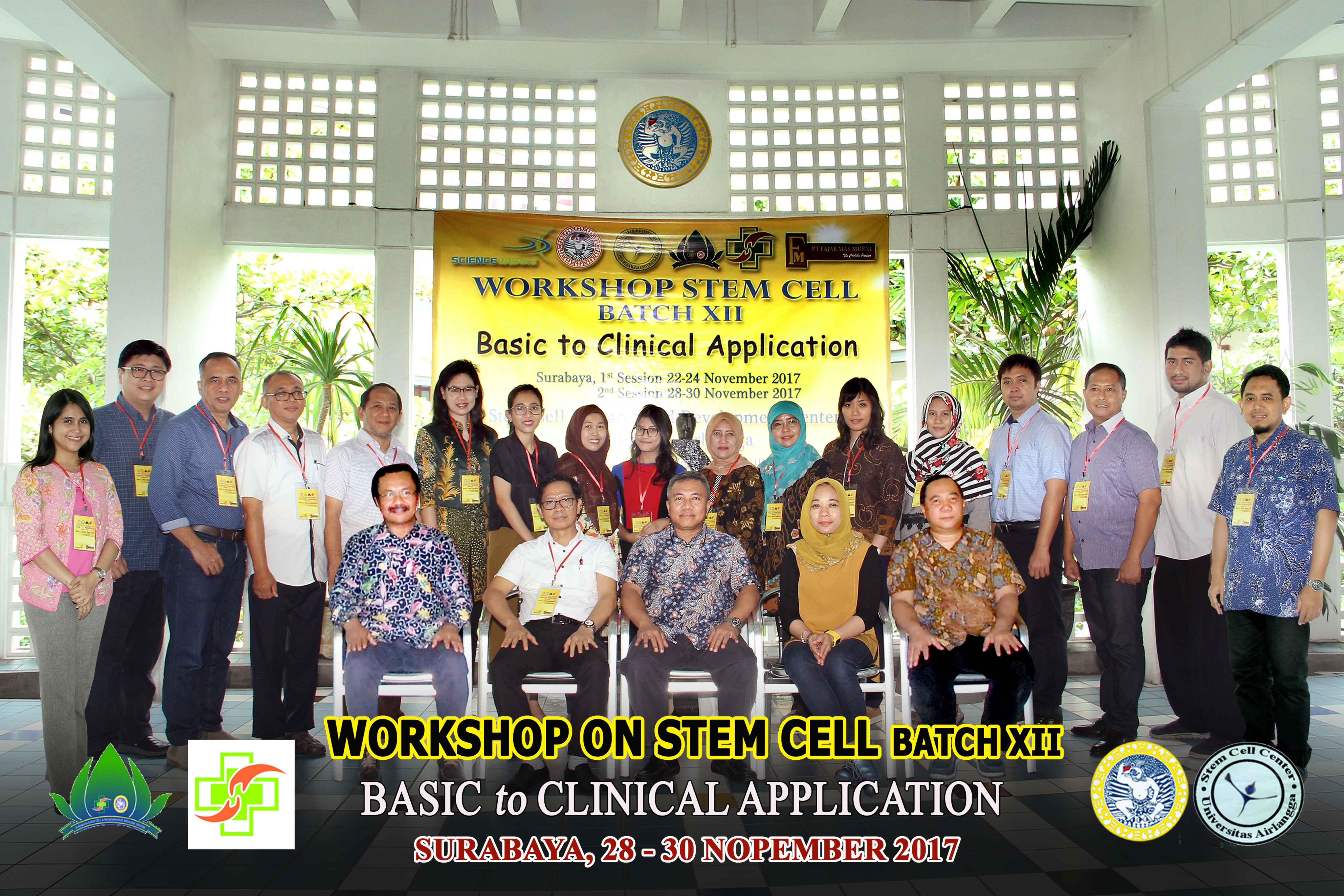 Stem Cell Research and Development Center Universitas Airlangga menggelar workshop Stem Cell Batch XII bertema Basic to Clinical Application dengan memberikan gambaran dan aplikasi riil secara in vitro serta bersifat Hands On.